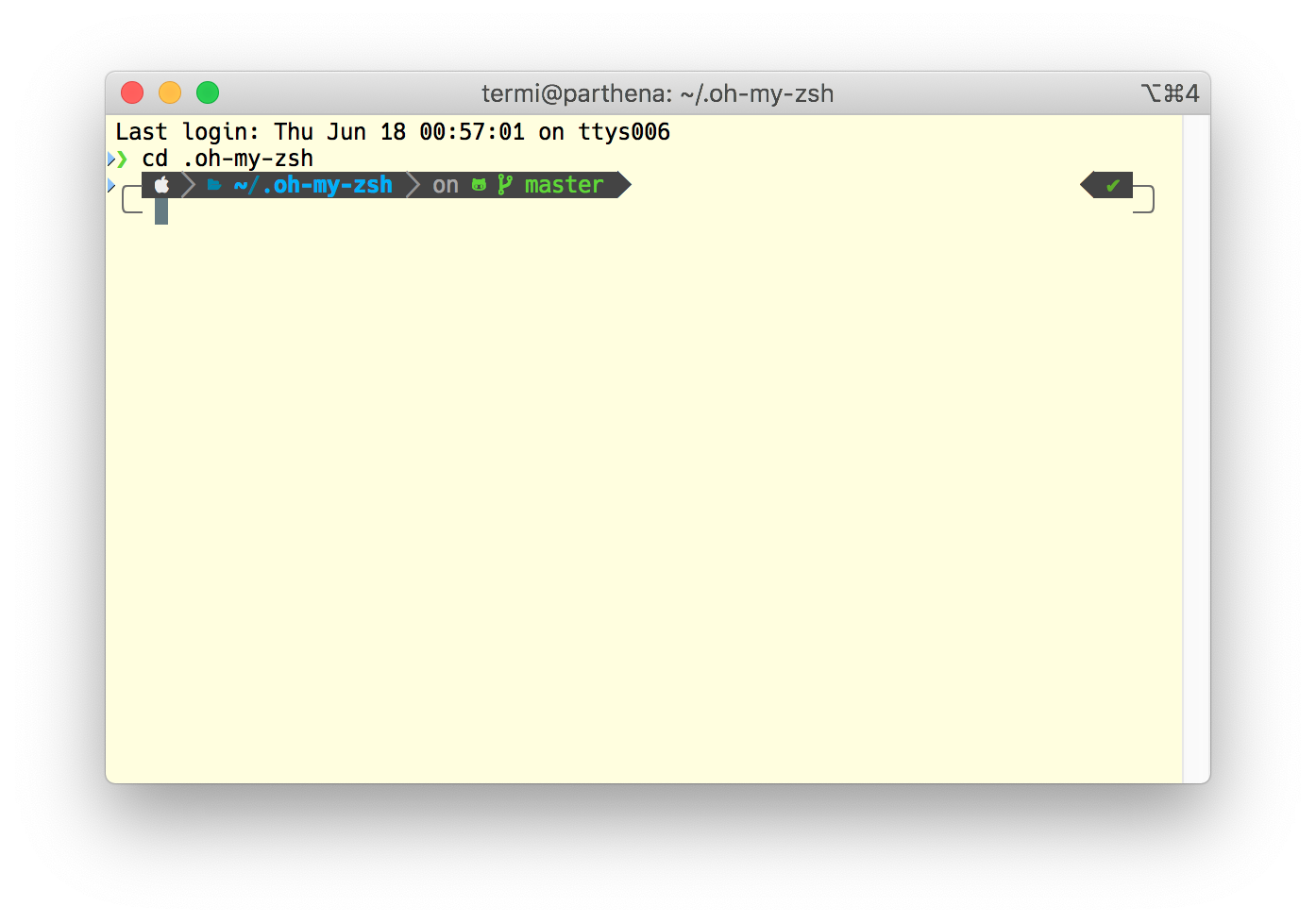 Screenshot of the final setup of Zsh with Powerlevel10k