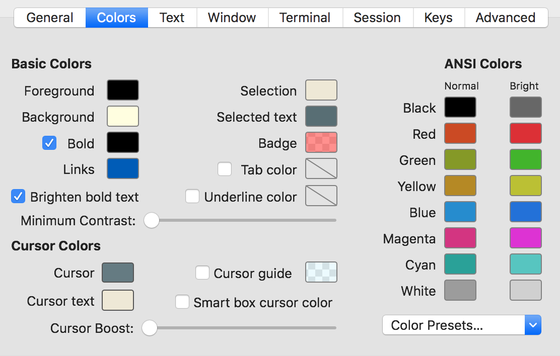 Screenshot of the color tab in the iTerm2 profile settings